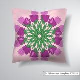 Creative sofa square pillow. Decorative pillowcase design template. Vector illustration. Stock Photos