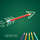 Creative solution. Black pencil on a green background with a drawn arrow stock illustration