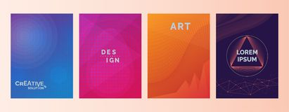 Creative solutions Design Art Lorem Ipsum text in abstract color gradient shapes background. Set of covers, brochures, flyer. Cool royalty free illustration