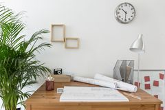 Creative space with house plans. On the desk Royalty Free Stock Images