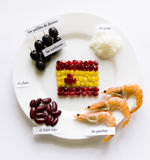 Creative Spanish flag on a white plate surrounded by national pr Stock Photo