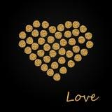 Creative Sparkling Heart made by Golden Glitter for Valentine s Day celebration or Love concept. Hearts made of golden sparkling confetti vector illustration