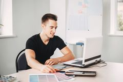 Creative specialist working with color palettes stock photos