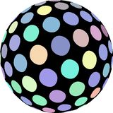 Creative sphere 3d graphic. Light blue green yellow dots macro. Mosaic ball pattern. vector illustration