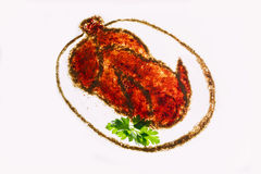Creative spice roast chicken on a white background Royalty Free Stock Photography