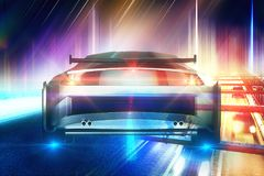 Creative sports car background Royalty Free Stock Photo