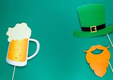 Creative st Patricks Day green background. Flat lay composition of Irish holiday celebration with photo booth decor royalty free illustration