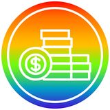 A creative stacked money circular in rainbow spectrum. An original creative stacked money circular in rainbow spectrum vector illustration