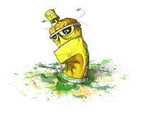 Creative stagnation. Spray bottle of paint on a dirty background. illustration Royalty Free Stock Images