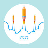 Creative start concept. Start up with pencil rocket. Vector illustration Royalty Free Stock Image