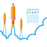Creative start concept. Start up with pencil rocket. Vector illustration Stock Images