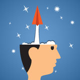 Creative start, Paper airplane start from head to success. Royalty Free Stock Image