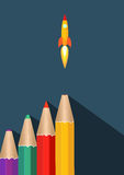 Business Start Up and Project Development. Writing Creative Marketing Strategy or Launching of Idea Concept. Color pencils with rocket ship launch. Modern flat royalty free stock photos