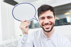 Creative start-up founder with speech bubble Stock Photography