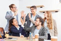 Creative start-up team celebrates team spirit Stock Image