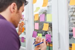 Creative start-up team notes ideas on paper Stock Images