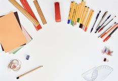 Creative Stationary On White Desk Stock Image