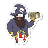 A creative sticker of a cartoon pirate captain with treasure chest. An original creative sticker of a cartoon pirate captain with treasure chest vector illustration