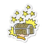 A creative sticker of a cartoon treasure chest. An original creative sticker of a cartoon treasure chest royalty free illustration