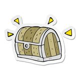 A creative sticker of a cartoon treasure chest. An original creative sticker of a cartoon treasure chest vector illustration