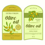 Creative stickers for olive oil with green olives. Vector labels used for advertising organic olive products. stock illustration
