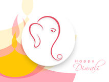 Creative sticky with Lord Ganesha for Happy Diwali celebration. Royalty Free Stock Photo