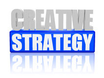 Creative strategy - letters and block. 3d color letters and block with text - creative strategy vector illustration