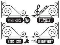 Creative street signs for the music room Stock Image