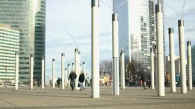 Creative streetlights near all-glass business center, modern art, unusual shapes. Stock footage stock video footage