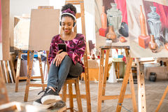 Creative student at the painting studio Royalty Free Stock Images