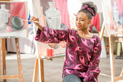 Creative student at the painting studio Stock Image