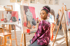 Creative student at the painting studio Royalty Free Stock Photography