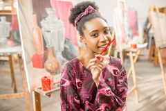 Creative student at the painting studio Royalty Free Stock Photos