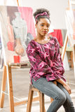 Creative student at the painting studio Stock Photography