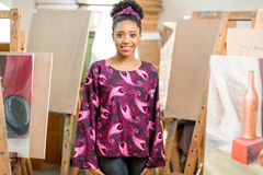 Creative student at the painting studio Royalty Free Stock Image