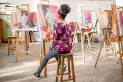 Creative student at the painting studio Stock Images