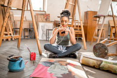 Creative student painting at the university Royalty Free Stock Photo