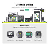 Creative studio flat line web graphics Stock Photography