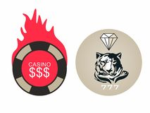 Creative stylish unusual logos for competitions, casinos, bars. Tiger and diamond. A tiger and a diamond in a circle. Money and the casino are on fire. Logo for Stock Illustration