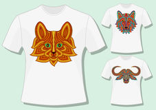 Creative stylized animal heads in ethnic linear style. T-shirt design. Vector illustration Royalty Free Stock Photos