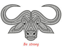 Creative stylized bull head in ethnic boho style. Animal background Stock Photography