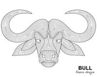 Creative stylized bull head in ethnic linear style. Animal background Stock Photos