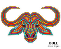 Creative stylized bull head in ethnic linear style. Animal background Stock Image