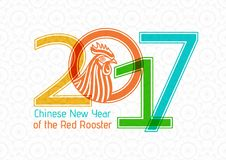 Creative stylized 2017 and rooster on abstract Chinese background.  Royalty Free Stock Photos