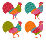 Creative stylized roosters in patchwork style. 2017 New Year symbol red cock. Vector illustration Stock Image