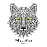 Creative stylized wolf head in ethnic boho style. Good for logo, ornamental tattoo, t-shirt design. Animal background. Highly deta vector illustration