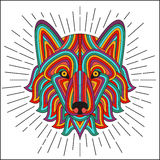 Creative stylized wolf head in ethnic linear style. Good for logo, tattoo, t-shirt design Stock Photography