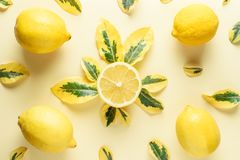 Creative summer pattern made of lemons and green leaves Royalty Free Stock Photos