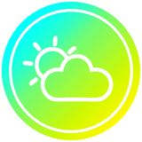 A creative sun and cloud circular in cold gradient spectrum. An original creative sun and cloud circular in cold gradient spectrum stock illustration