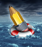 Creative Support. Creative help and support in a business concept as a yellow pencil being saved by a life belt or lifesaver in a stormy ocean scene as a stock illustration